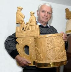 Wood carving- Slovakia - F. Eštočin a jeho maxičrpák. European Countries, Our Country, Carved Wood, Czech Republic, Wood Carving, Folk Art, Sculptures, Costumes, Wood Sculpture