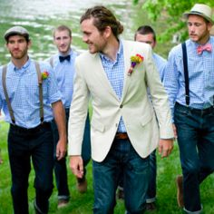 On a budget? Take a cue from this stylish groom and his groomsmen.