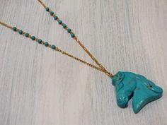 Mira este artículo en mi tienda de Etsy: https://www.etsy.com/es/listing/453083066/turquoise-horse-head-necklace-co002
