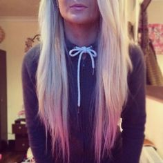 long hair with pink tips