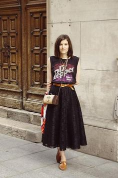 21 Ways to Wear Vintage Tees | StyleCaster : Love how she styled this. Easily head to toe vintage - mixing eras and keeping it fresh ♥