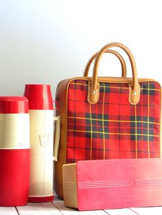 vintage plaid thermos picnic set