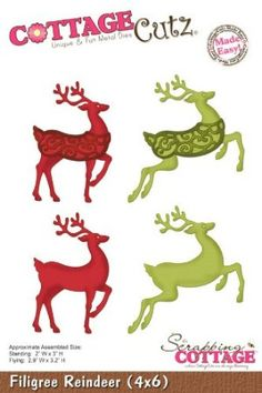 Amazon.com: Filigree Reindeer Die // Cottage Cutz: Arts, Crafts & Sewing