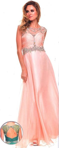Prom Dresses<BR>Eveningl Dresses under $200<BR>560<BR>Long gown, sheer scoop neckline with bead work and stones.