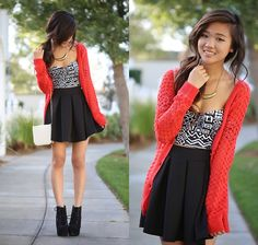 Forever 21 Gold Crescent Shaped Necklace, Charlotte Russe Red Fluffy Knit Cardigan, Charlotte Russe Black And White Aztec Inspired Print Crop Top, Charlotte Russe Black Pleated Skater Skirt, Charlotte Russe White Leather Bag, Jeffrey Campbell Black Ponyha