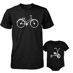 Bicycle And Tricycle Dad and Baby Matching Tshirts Cute Fathers Day Gift Ideas Baby Shirts, Family Shirts, Dad And Son Shirts, Matching Shirts, Matching Outfits, Cycling T Shirts, Family Outfits, Family Clothes, Baby Bodysuit