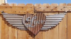 Upcycled old Corrugated Metal Wings with Love by RockinBTradingCo, $49.00