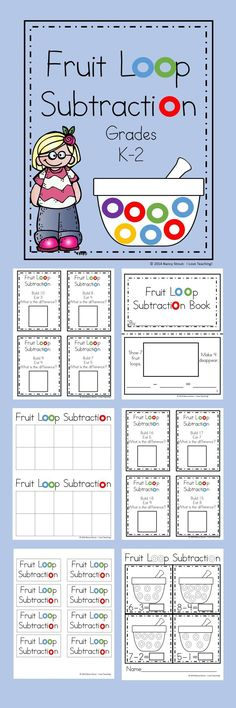 Math Subtraction For K and First Grade Printables and Task Cards Fruit Loops and Subtraction! If your students need a motivation for learning subtraction then [. Subtraction Kindergarten, Subtraction Activities, Kindergarten Math Activities, Homeschool Math, Fun Math, Math Games, Teaching Math, Numeracy, Preschool