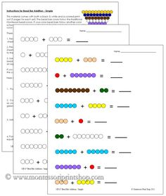 Bead Bar Addition (Simple) - Printable Montessori Learning Materials for home and school.