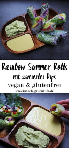Rainbow Summer Rolls - vegane & glutenfreie Sommerrollen mit Avocado-Limetten-Dip & Mandel-Erdnuss-Kokos-Dip - die gesündere Alternative zu Frühlingsrollen, mit viel frischem Gemüse und perfekt für die Sommerzeit.