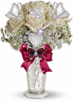 Blinged out Bouquet ♡♥♡♥ Flowers Gif, Flowers For You, Pretty Flowers, Beautiful Gif, Beautiful Friend, Beautiful Roses, White Rose Bouquet, Glitter Graphics, Love Rose