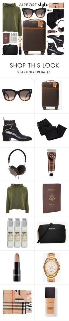 """Airport Style"" by smartbuyglasses ❤ liked on Polyvore featuring MICHAEL Michael Kors, Gucci, Avon, Frends, The Body Shop, Topshop, Royce Leather, Le Labo, Michael Kors and Burberry"