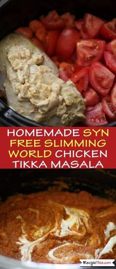 Slimming World Chicken Tikka Masala Curry In The Slow Cooker. Easy to make, healthy and on too! Delicious chicken tikka masala curry cooked to perfection in the slow cooker. Easy to prepare and totally Syn Free on Slimming World. Chicken Tikka Masala, Poulet Tikka Masala, Tikka Masala Sauce, Masala Curry, Slimming World Chicken Tikka, Slimming World Curry, Slow Cooker Slimming World, Slimming World Recipes Syn Free, Slimming World Tikka Masala