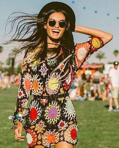 More crochet #Coachella fashion for some Saturday morning inspiration! I really need to learn to make crochet clothing!  image found on #Pinterest  #coachellafashion #coachellastyle #coachellavibes #crochetfashion #crochetmotif by deartomyartcreations