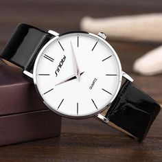 Super slim Quartz Casual Wristwatch Business JAPAN SINOBI Brand Leather Analog Quartz Watch Men's Fashion 2017 - www. Casual Watches, Watches For Men, Wrist Watches, Simple Watches, Analog Watches, Nice Watches, Modern Watches, Ladies Watches, Men's Watches