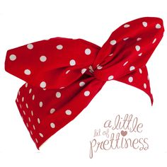 $11.99  Gorgeous 50′s Red Polka Dot Vintage Pin-Up Headband.  Measuring approximately 38cm long by 7cm wide. Special soft flexible wire to twist and mold the headband into shape – very comfortable!  Made from quality 100% cotton fabric.  www.alittlebitofprettiness.com.au