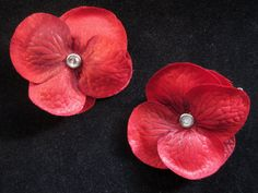 #Handmade Red Flowers and Jewels Hair Clip Set by ninjavspirategifts on Etsy, $8.00