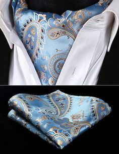 b09c2428ef5e RP928BS Blue Gold Paisley Men Silk Cravat Scarves Ascot Tie Handkerchief Set