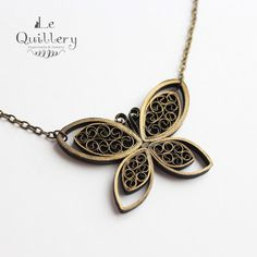 Black and Gold Butterfly Necklace - Handmade Paper Quilling Jewlery by LeQuillery, $17.00