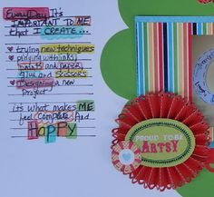 close up of embellishment cluster I did and the colorful journaling using colored pencils