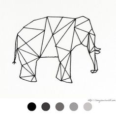 Elephant - éléphant - DIY Déco - Tableau Clou Fil - Décoration - Decoration - Stud - Thread - Tutoriel - Tuto -: Geometric Art, Geometric Elephant, Sketch Painting, String Art, Yarn Wall Art, Tape Wall, Doodle Sketch, Wall Art Quotes, Embroidery Hoop Art