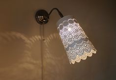 LACE SCONCE LAMP  Stainless Steel Hanging Wall Sconce by BootsNGus, $60.00