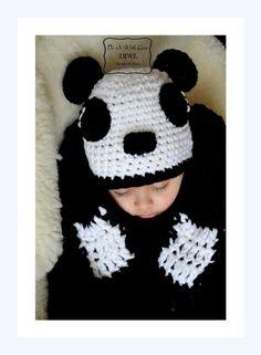 Crochet Pattern - Panda Hat Scarf Set winter Child and Adult Sizes Free Ship ❤Panda Schal Mütze Winter Set Häkelanleitung❤  von  DO IT WITH LOVE auf DaWanda.com