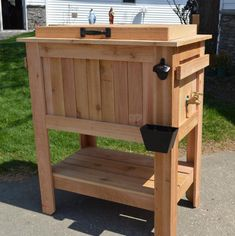 Rustic Ice Chest Cooler Stand with Brass Drain, Bottle Opener, and Bottle Cap Catcher, beer cooler, deck furniture Wood Cooler, Cooler Cart, Cooler Stand, Ice Chest Cooler, Beer Cooler, Pallet Cooler, Fridge Cooler, Diy Cooler, Beer Fridge