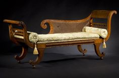 FINE CLASSICAL CANED FIGURED MAPLE GRECIAN COUCH - Carswell Rush Berlin