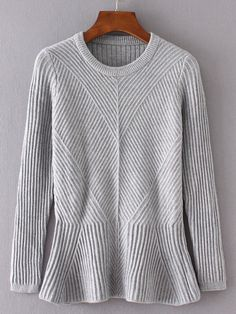 To find out about the Grey Ruffle Hem Ribbed Sweater at SHEIN, part of our latest Sweaters ready to shop online today! Knitwear Fashion, Knit Fashion, Womens Fashion, Cozy Sweaters, Pullover Sweaters, Ribbed Sweater, Gray Sweater, Sweater Weather, Knit Patterns