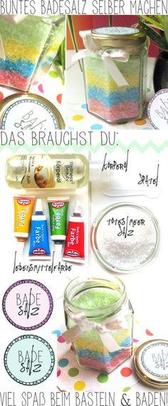 DIY Buntes Badesalz + Freebie Etikett - Handmade Kultur