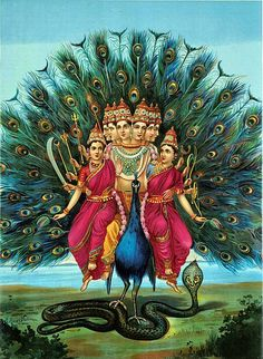 Hindu deity Karktikeya or Murugan with his consorts on his Vahana peacock by Raja Ravi Varma (1848–1906) via Wikipedia.
