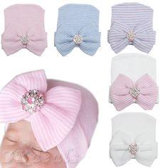 Baby Infant Colorful Striped Cap Hospital Newborn Soft Beanie Bow Rhinestone Hat #UnbrandedGeneric