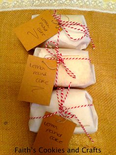 A piece of homemade lemon pound cake wrapped in parchment paper and tied with #twine from #pickyourplum....the #gifttags are also from the #pickyourplumgrabbox