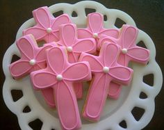 Girl or Boy Cross Decorated Sugar Cookies For Baptism Communion Confirmation via Etsy Iced Cookies, Cut Out Cookies, Cute Cookies, Easter Cookies, Yummy Cookies, Christmas Cookies, Sugar Cookie Icing, Cookie Frosting, Sugar Cookies