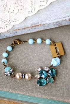 Frozen in time vintage assemblage blue by tiedupmemories on Etsy, $38.00