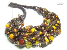 Thick necklace GINGERBREAD WITH HONEY Multistrand by JUBIARTE