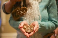 """diy gingerbread heart cookie ornaments, """"I love him"""" & """"I love her"""" - #romantic #winter #engagement #christmas #wedding - raleigh nc #southern wedding photographers"""