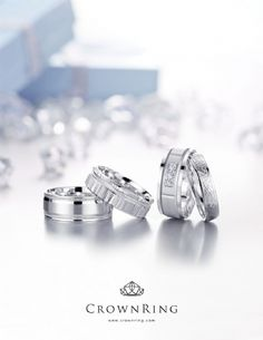 Wedding bands by Crown Ring available at Bogart's Jewellers are simply stunning! Jewelry Ads, Photo Jewelry, Jewelry Branding, Custom Jewelry, Jewelry Rings, Jewellery, Jewelry Photography, Chains For Men, Sterling Silver Jewelry