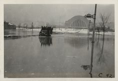 Cincinnati, Ohio, 1937 flood, from the collection of the Cincinnati Bell Historical Archives: Unidentified location; Union Terminal in background.