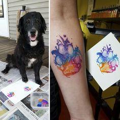 Post with 0 votes and 169283 views. Dog paw print art is great fun Diy Tattoo, Get A Tattoo, Tattoo Cat, Tattoo Small, Tattoo Fonts, Pet Tattoo Ideas, Tattoo For Dog, Corgi Tattoo, Tattoo Quotes