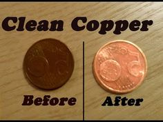 How to clean copper coins with a simple science trick using vinegar and salt. How To Clean Coins, How To Clean Pennies, How To Clean Copper, How Do You Clean, Old Coins, Rare Coins, Antique Coins, Rare Pennies, Easy Magic Tricks