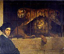 Francesco Hayez, Self-portrait with Tiger and Lion