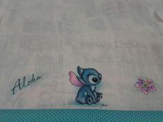 Fralda boca Stitch Pintura em tecido