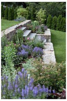 Terraced Landscaping, Terraced Backyard, Landscaping Ideas, Steep Hillside Landscaping, Sloped Backyard Landscaping, Landscaping Borders, Steep Backyard, Backyard Ideas, Terraced Patio Ideas