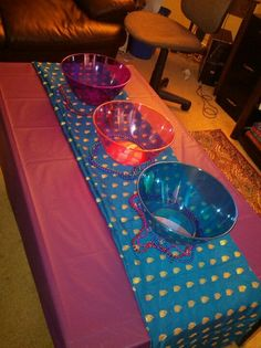 Aladdin Party - I used to color scheme of Purple, Pink, and Turquoise to represent the richness of Jasmine and the Arab culture.