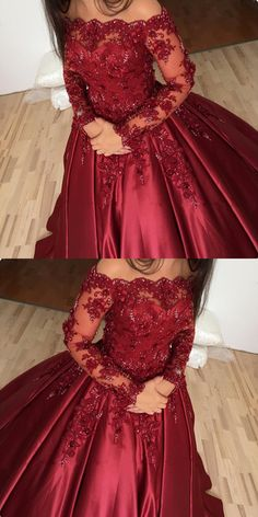 burgundy wedding dresses ball gowns lace long sleeves with off the shoulder neckline