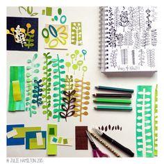 Creative Process - Julie Hamilton Designs {artistically afflicted blog} #sketchbook #artjournal #penpaperpaintpattern