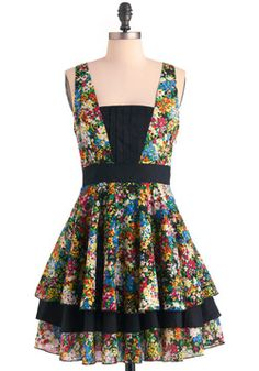 Best Palettes Dress from ModCloth ~ If you're fond of incorporating color into your wardrobe, then meet your closet's new best friend! This frock flaunts a dynamic floral pattern that features every color in the rainbow, all accented by chic jet-black accents. From its pleated bodice panels to its raw-hemmed, tiered skirt, this brilliant dress is totally 'hue'!