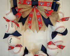 Baseball Wreath with burlap bow  Made with REAL baseballs